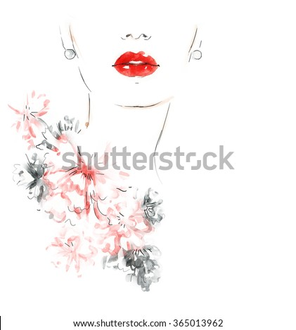 Beautiful woman with flowers. abstract fashion illustration - stock photo
