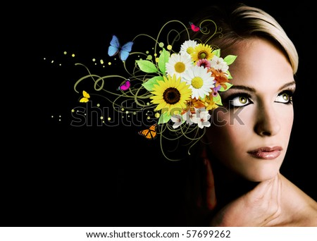 Beautiful woman with flowers and butterflies - stock photo