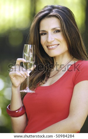 Beautiful woman with glass of champagne