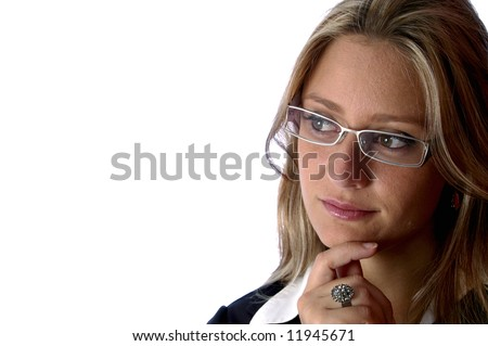 Beautiful woman with glasses look away