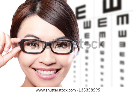 beautiful woman with glasses on the background of eye test chart, eye care concept, asian beauty