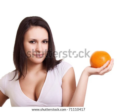 Beautiful woman with grapefruit - stock photo