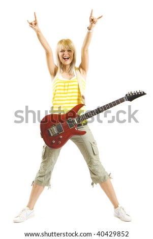 beautiful woman with hand up in the air and guitar  - isolated on white