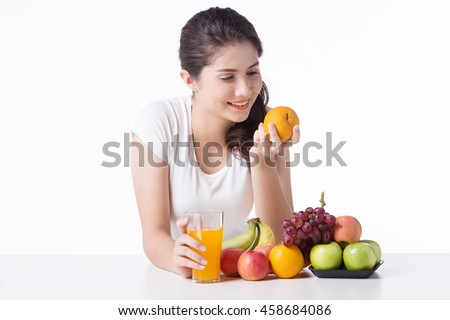 beautiful woman with healthy food, white background isolate - stock photo