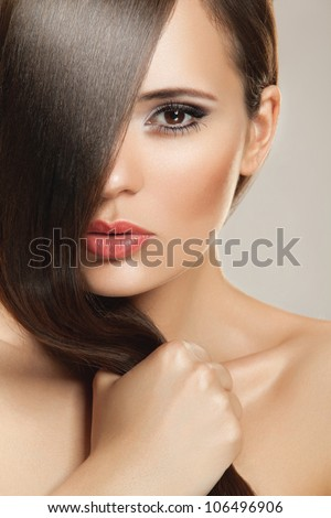 Beautiful Woman with Healthy  Hair. High quality image. - stock photo