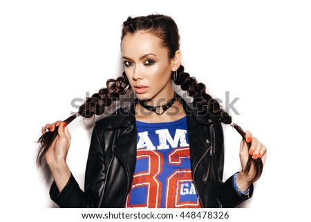 Beautiful Woman with Healthy Long Hair Braid. White background not isolated