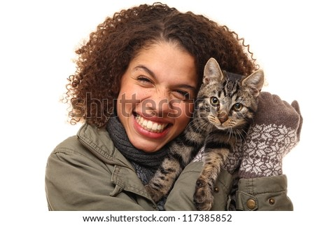 Beautiful woman with her cat - stock photo