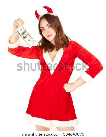 Beautiful woman with horn holding 100 dollar isolated on white - stock photo