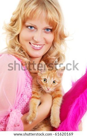beautiful woman with kitten isolated on white background