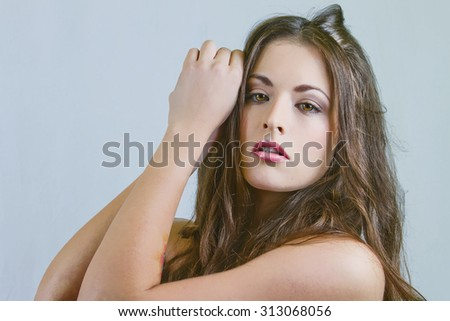 Beautiful Woman With Long Brown Hair - stock photo