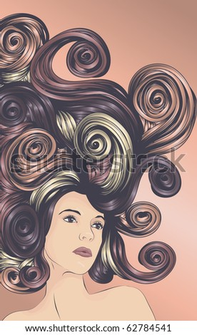 Beautiful woman with long flowing colorful hair - stock photo