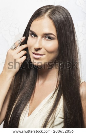 beautiful woman , with long hair