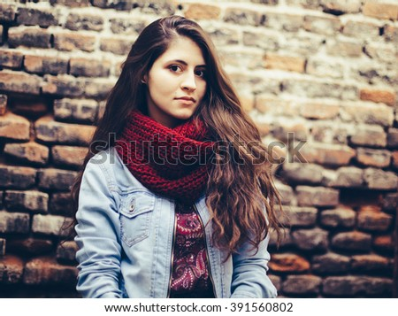 Beautiful woman with long hair/ Beautiful woman with long hair - stock photo