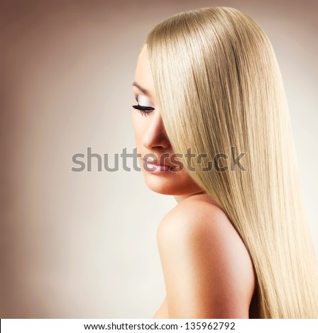 beautiful woman with long hair,close-up - stock photo