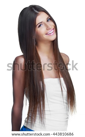 beautiful woman with long hair, isolated against white background