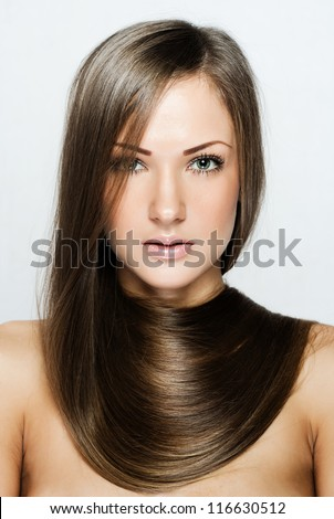 beautiful woman with long natural hair , hairstyle , brown hair - stock photo