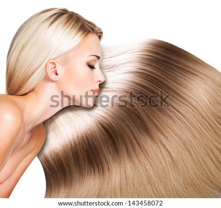 Beautiful woman with long white hair. Closeup portrait of a fashion model over white background - stock photo