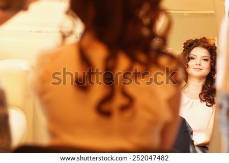Beautiful woman with make up - stock photo