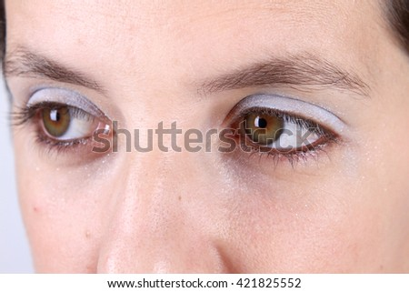 Beautiful woman with makeup - stock photo