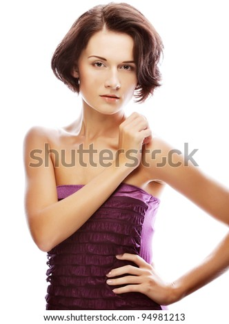 Beautiful woman with natural make-up over white studio background . - stock photo