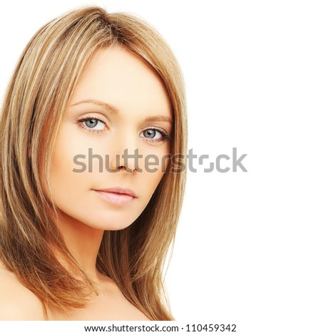 Beautiful woman with natural makeup, face close-up - stock photo