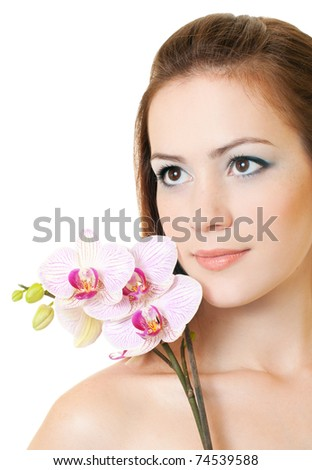 Beautiful woman with orchid on white background