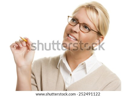 Beautiful Woman with Pencil Looking Up and Left Isolated on a White Background.