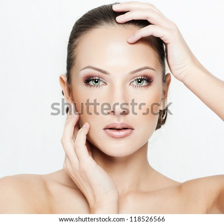 beautiful woman , with perfect clean skin  , fashion makeup - stock photo