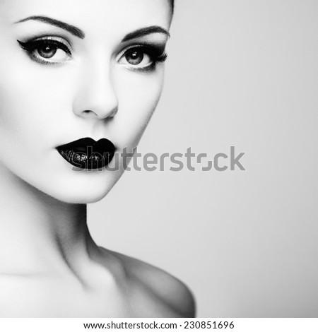 Beautiful woman with perfect makeup. Beauty portrait. Fashion photo - stock photo