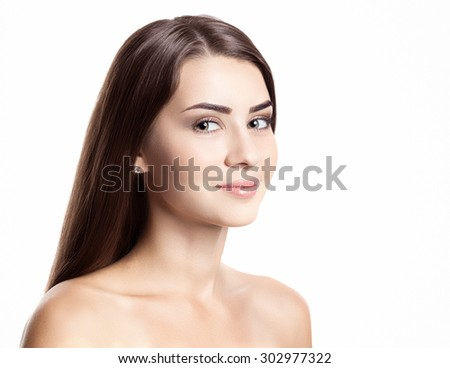 beautiful woman with perfect skin and face isolated on white background - stock photo