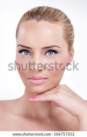 Beautiful woman with perfect softness skin - stock photo