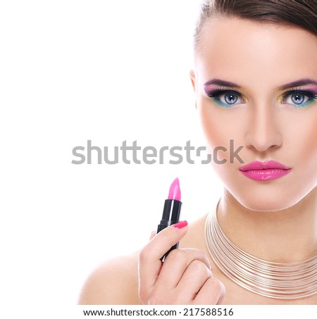 Beautiful woman with pink lipstick on a white background - stock photo