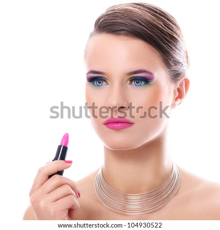 Beautiful woman with pink lipstick over white background - stock photo