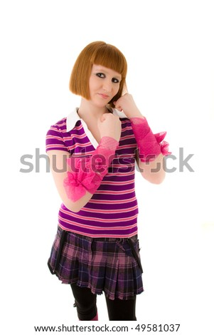 Beautiful woman with pink ribbons on her arms looking to the camera