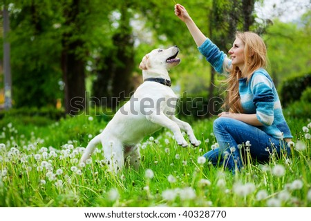 Beautiful woman with playful young dog on fresh green meadow - stock photo