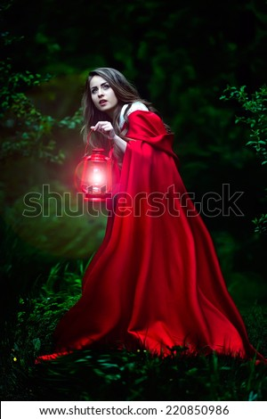 beautiful woman with red cloak and lantern in the woods by night - stock photo