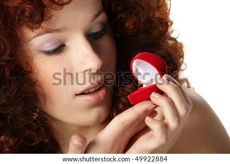 Beautiful  woman with red gift box with jewellery