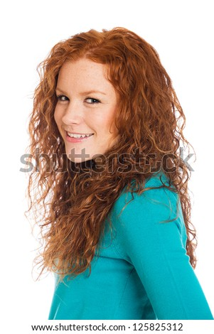 Beautiful woman with red hair and freckles. - stock photo