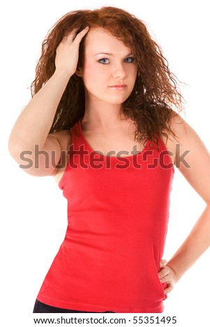 Beautiful woman with red hair in red. Isolated on white. - stock photo