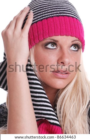 Beautiful Woman with Scarf and hat ready for Winter - stock photo