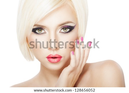 Beautiful woman with short Blond hair, bright violet purple makeup, lips and manicure