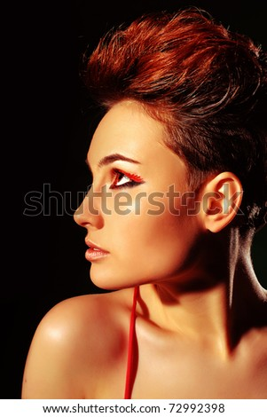 beautiful woman with short hair - stock photo