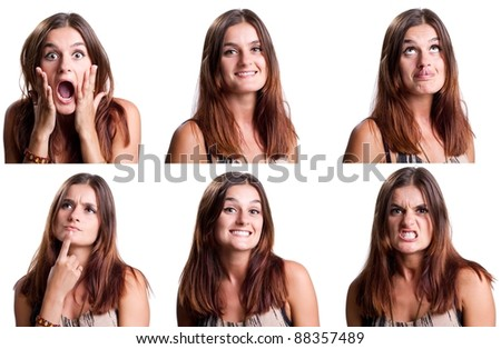 Beautiful woman with six different faces
