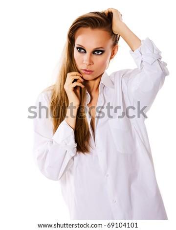 beautiful woman with smokey eyes makeup portrait isolated - stock photo