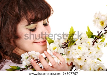 Beautiful woman with spring flower.