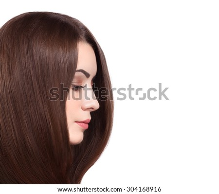 Beautiful Woman with Straight Long Brown Hair on White Background - stock photo
