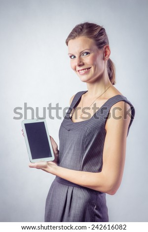 Beautiful Woman With Tablet Isolated on White Background