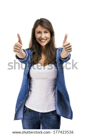 Beautiful woman with thumbs up, isolated over white background - stock photo