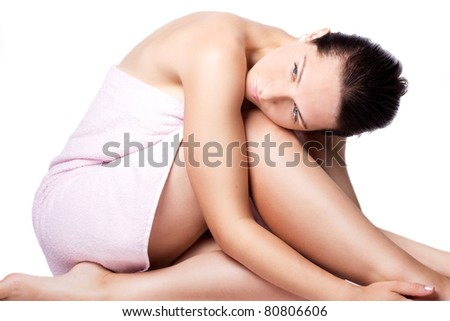 beautiful woman with towel isolated on white - stock photo