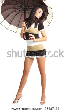 Beautiful Woman with umbrella. studio shot - stock photo